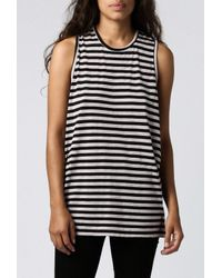 Cheap Monday | Gray Flow Stripe Tank | Lyst