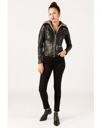 Doma Leather - Black Classic Leather Hooded Jacket - Lyst
