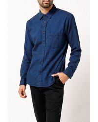 Corridor NYC - Blue Brushed Flannel L/s Shirt for Men - Lyst