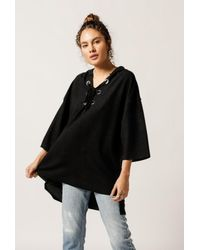 NYTT - Black Lace Up Hoodie - Lyst