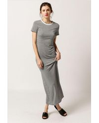 Azalea - Gray Striped Maxi T-shirt Dress - Lyst