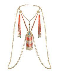 TOPSHOP - Multicolor Orange Beaded Body Chain - Lyst