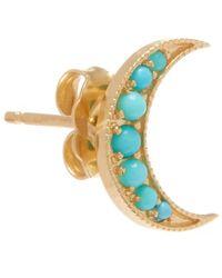 Andrea Fohrman - Metallic Gold Turquoise Crescent Moon Stud Earring - Lyst