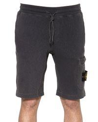 Stone Island | Gray Cotton Fleece Shorts for Men | Lyst