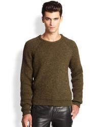 BLK DNM Green Ribbed Raglan Sweater for men