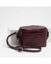 Zara | Purple Mock Croc Messenger Bag | Lyst