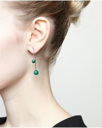 Asherali Knopfer Black Gold And Malachite Bar Earring