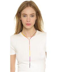Gemma Redux - Multicolor Rainbow Bar Lariat Necklace - Rainbow - Lyst