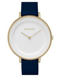 Skagen - Blue 'ditte' Round Textured Dial Watch - Lyst