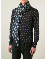 Dolce & Gabbana Blue Polka Dot Print Scarf for men
