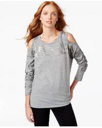 DKNY - Gray Cold-shoulder Printed Top - Lyst
