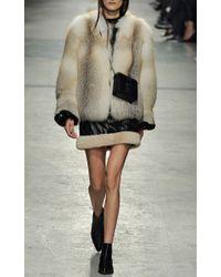 Christopher Kane Black Nylon Mini Skirt with Fur Trim