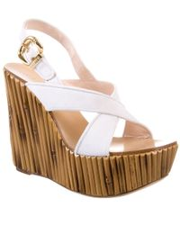 Casadei - White Suede and Wood-effect Wedges - Lyst