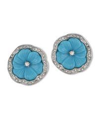 Kenneth Jay Lane | Blue Turquoise Flower Clip Earring | Lyst