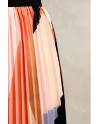 HD In Paris Orange Pleated Colorblock Skirt