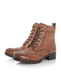Dune - Brown Persia Brogues Leather Ankle Boots - Lyst