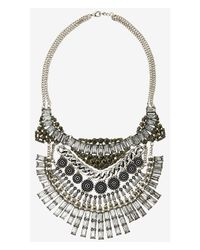 Express | Metallic Nested Rhinestone And Medallion Necklace | Lyst