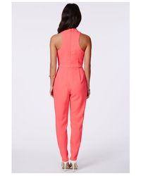 Missguided - Pink Tiffney Coral High Neck Jumpsuit - Lyst