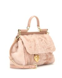 4def26ae0d7 Dolce & Gabbana Miss Sicily Medium Leather And Shearling Shoulder ...