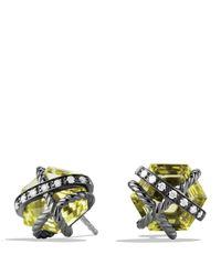 David Yurman | Yellow Cable Wrap Earrings With Lemon Citrine & Diamonds | Lyst