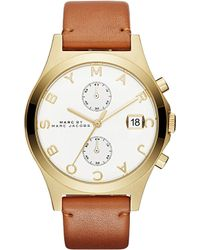 Marc Jacobs Brown Mbm1396 Slim Chrono Stainless Steel And Leather Watch