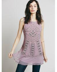 Free People Purple Womens Sleeveless Hardware Embellished Tunic