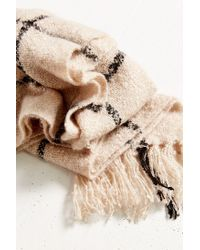 Urban Outfitters Natural Brushed Plaid Blanket Scarf