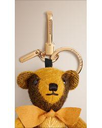 Burberry   Yellow Thomas Bear Check Cashmere Charm    Lyst