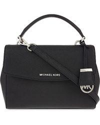 MICHAEL Michael Kors | Black Ava Small Saffiano Leather Satchel | Lyst