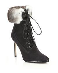 ee06b150e7b154 Manolo Blahnik. Women's Black Oklamod Rabbit Fur-trimmed Suede Lace-up  Booties