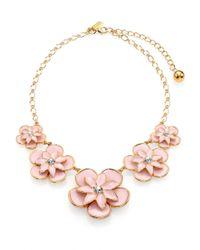 kate spade new york Pink Graceful Floral Enamel Graduated Necklace