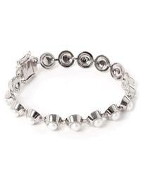 Eddie Borgo | Metallic Silver-plated Pearl Cabochon Bracelet | Lyst