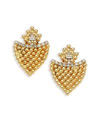 DANNIJO | Metallic Dexter Crystal Button Earrings | Lyst
