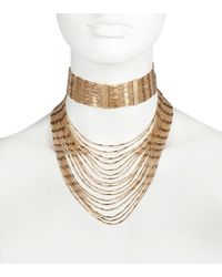River Island | Metallic Gold Tone Multiple Chain Choker Necklace | Lyst