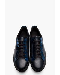 Raf Simons Black Leather and Reflective Silver Low-tops for men