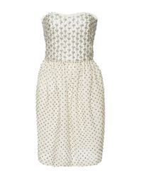Monique Lhuillier - White Embroidered Strapless Dress - Lyst