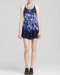 Free People - Blue Floral Voile Slip Dress - Lyst