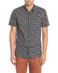 Rip Curl - Black 'flower Field' Floral Print Short Sleeve Sport Shirt for Men - Lyst