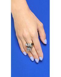 Iosselliani | Metallic Crystal Ring - Clear/gold | Lyst