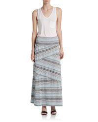 Max Studio - Blue Striped Maxi Skirt - Lyst