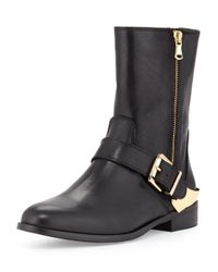 Charles David | Black Val Leather Double-zip Moto Boot | Lyst