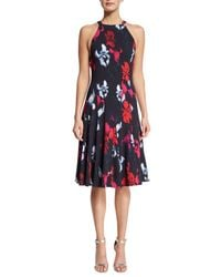Thakoon - Blue Floral-print A-line Halter Dress - Lyst