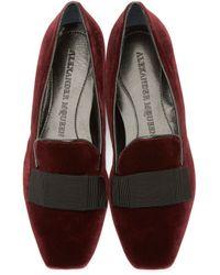 Alexander McQueen Purple Burgundy Velvet Bow Loafers