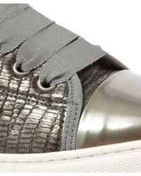 Lanvin - Metallic Gunmetal Grey Pattoe Brok Trainers - Lyst