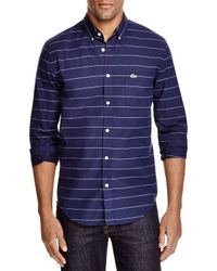 Lacoste | Blue Stripe Slim Fit Button Down Shirt for Men | Lyst