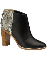 Ted Baker Black Lorcae Leather Snakeskin Print Block Heel Ankle Boots