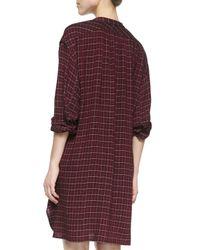 Étoile Isabel Marant Red Peneloppe Long-sleeve Henley Dress
