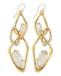 Alexis Bittar - Metallic Infinity Link Earrings with Aqua Green Crackle Glass - Lyst