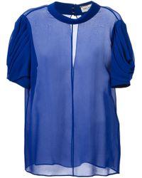 Saint Laurent Blue Semi Sheer Blouse