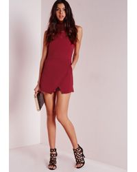 Missguided - Purple Roll Neck Skort Romper Burgundy - Lyst